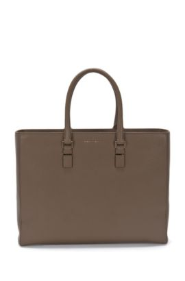 Workbag van luxueus Italiaans leer uit de Luxury Staple-collectie van BOSS, Donkerbruin