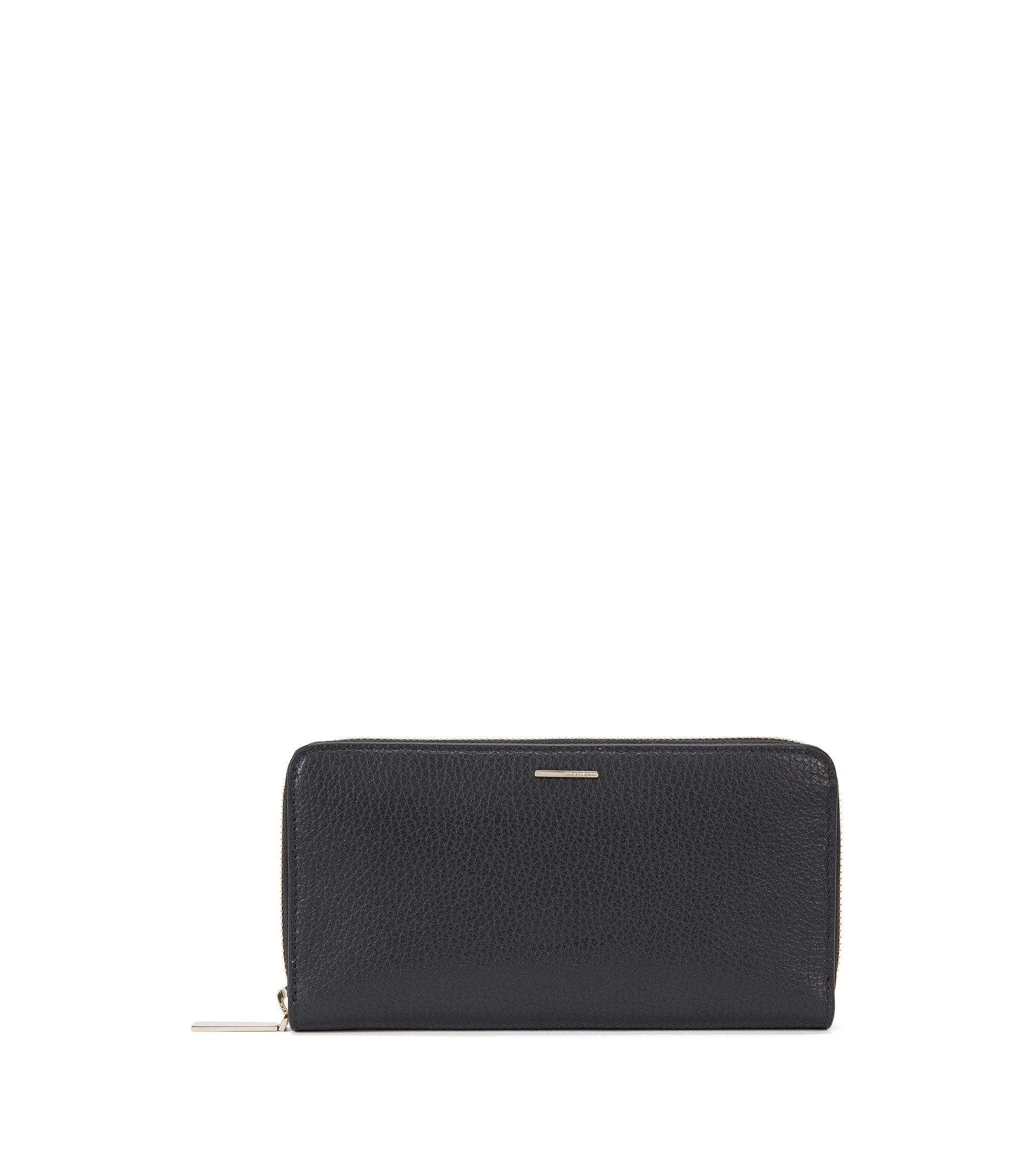 BOSS Luxury Staple portemonnee van generfd rundleer, Zwart