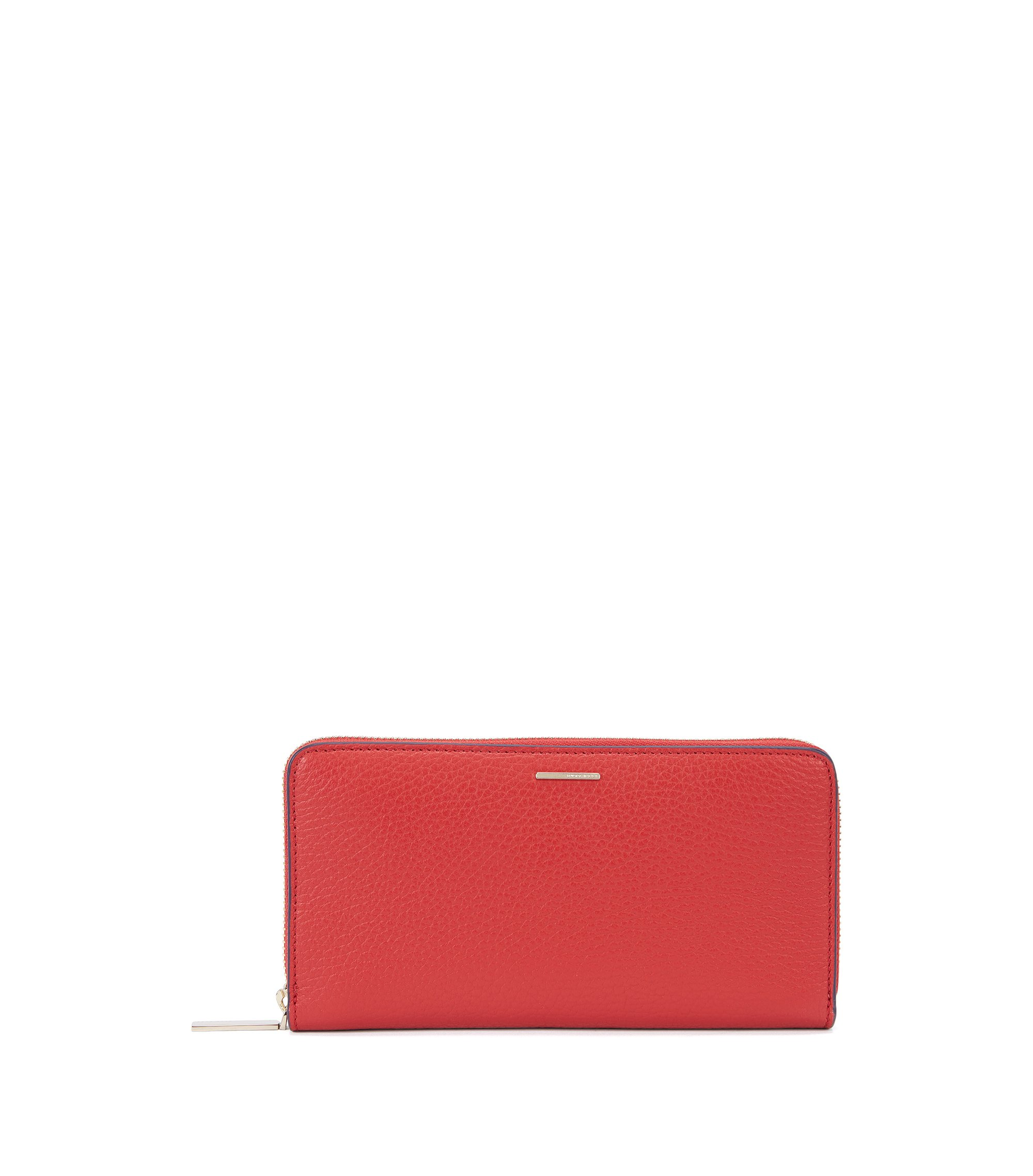 Portafoglio in pelle martellata della collezione BOSS Luxury Staple, Rosso