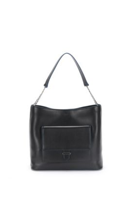 Leather hobo bag with patch pockets on the front: 'Philippa-M', Black
