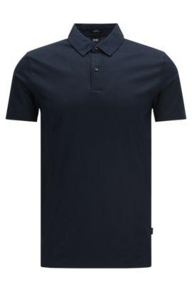 Slim-Fit Poloshirt aus merzerisierter Baumwolle: 'Place 13', Dunkelblau
