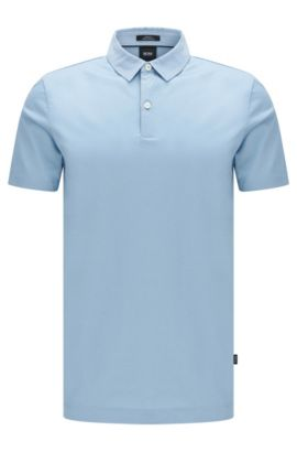 Slim-fit polo shirt in mercerised cotton: 'Place 13', Light Blue