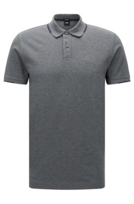 Regular-fit polo shirt in cotton with contrasting details: 'Parlay 06', Grey