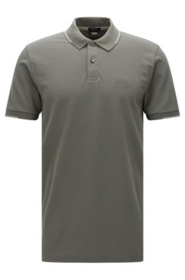 Regular-fit polo shirt in cotton with contrasting details: 'Parlay 06', Dark Green