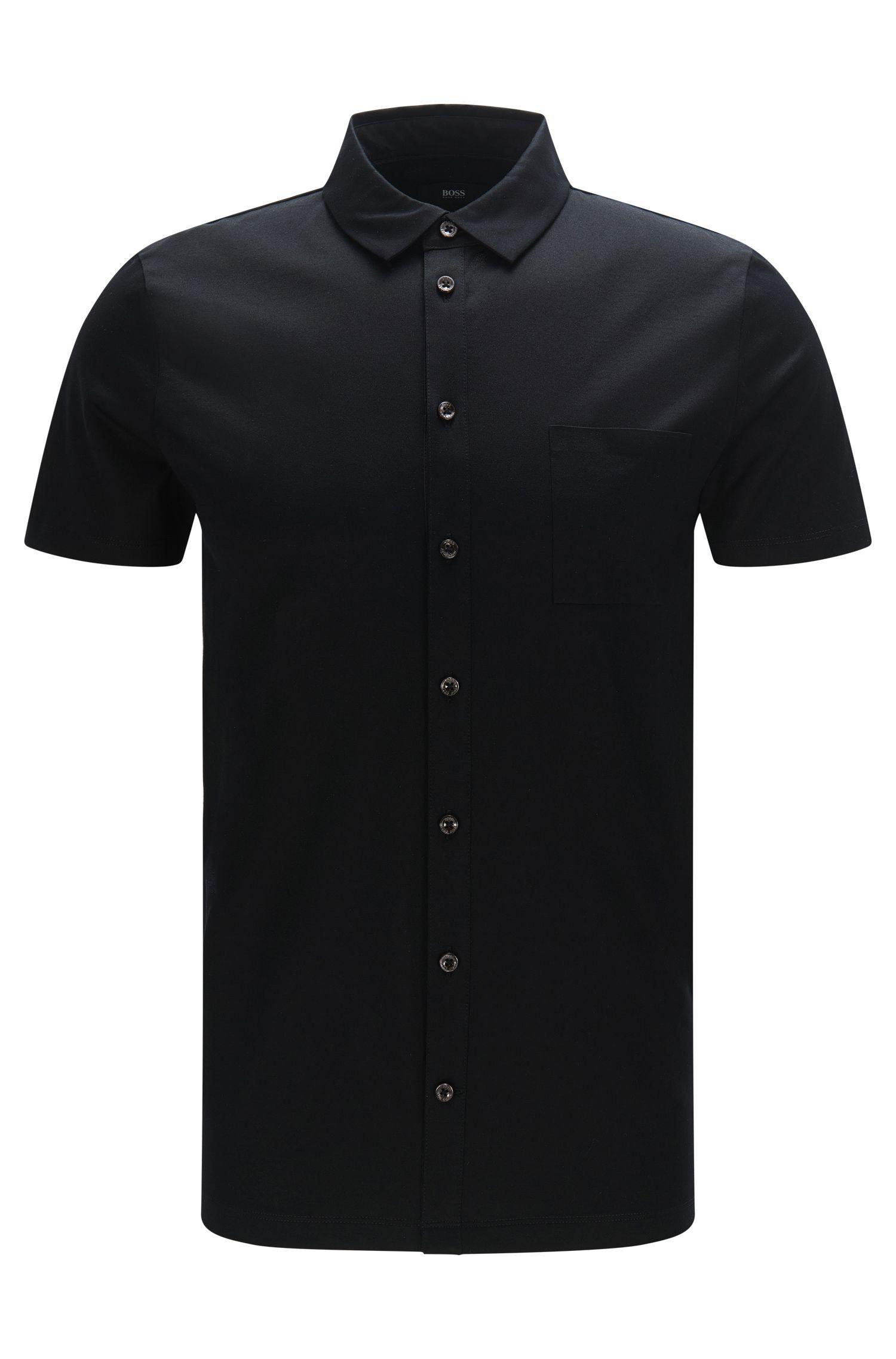 Slim-Fit Kurzarm-Hemd aus merzerisierter Baumwolle: 'Puno 03'