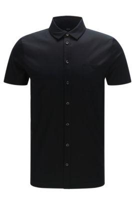Chemise à manches courtes Slim Fit en coton mercerisé: «Puno 03», Noir