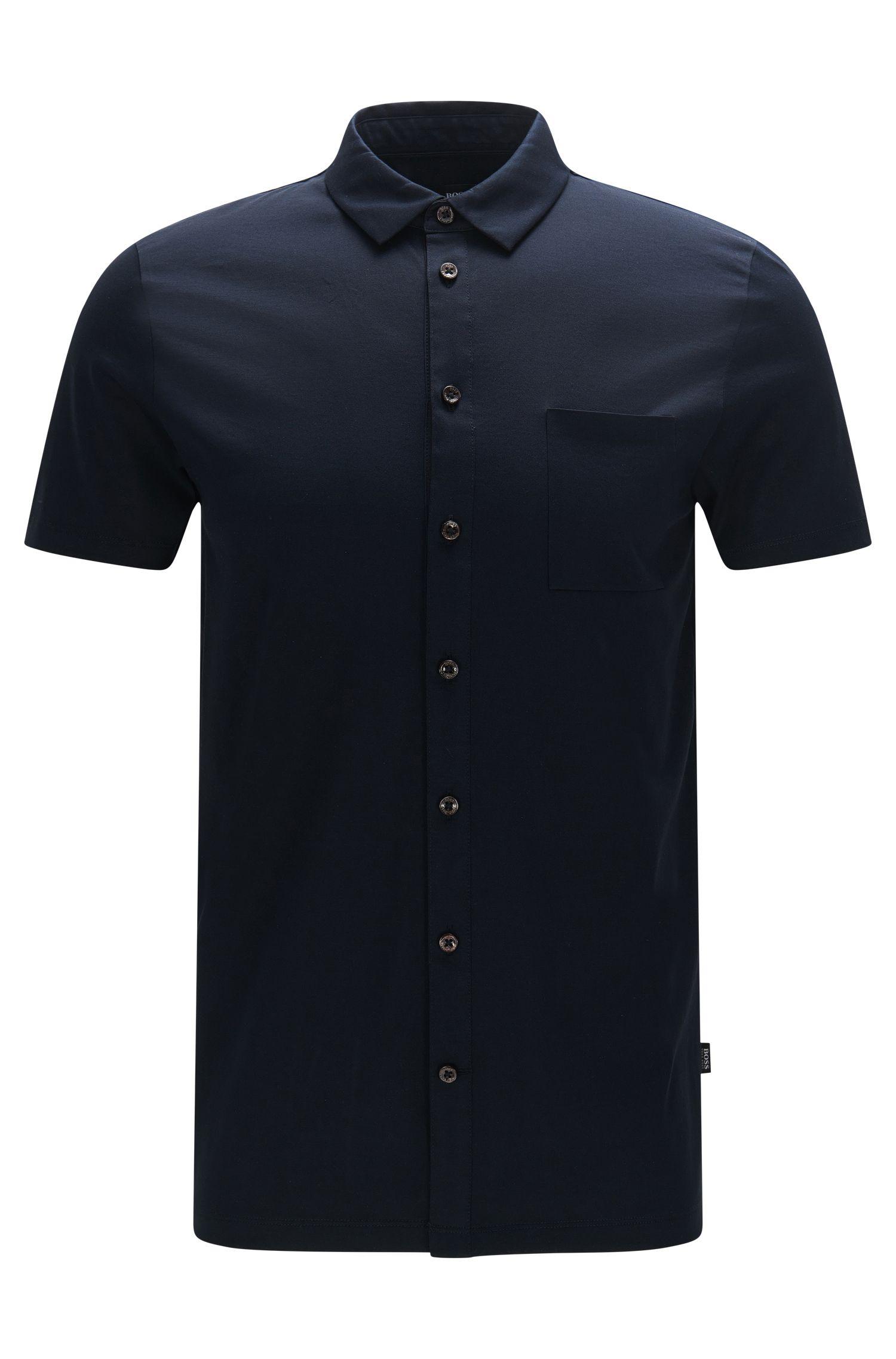 Chemise à manches courtes Slim Fit en coton mercerisé: «Puno 03»