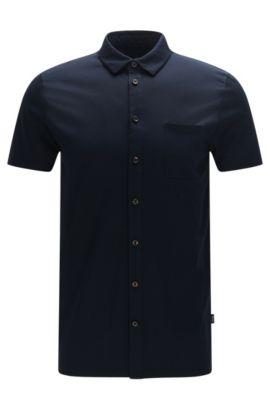 Chemise à manches courtes Slim Fit en coton mercerisé: «Puno 03», Bleu foncé