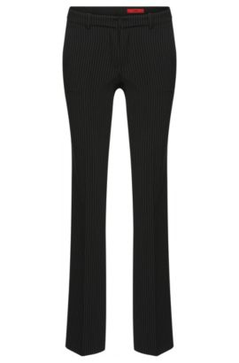 Straight-cut trousers in pinstripe pattern: 'Hinass-5', Black