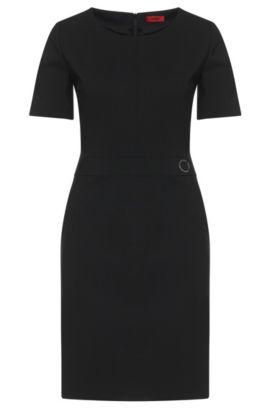 Vestido tubo liso en lana virgen elástica: 'Karenas', Negro