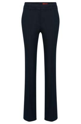 Pantalón de corte recto en mezcla de algodón con textura en el estampado: 'Halune', Azul oscuro