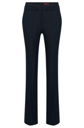 Straight-cut trousers in cotton blend with textured pattern: 'Halune', Dark Blue