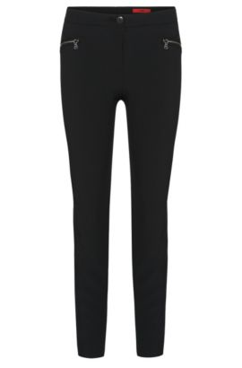 Low-waisted trousers with zip pockets: 'Hedine', Black