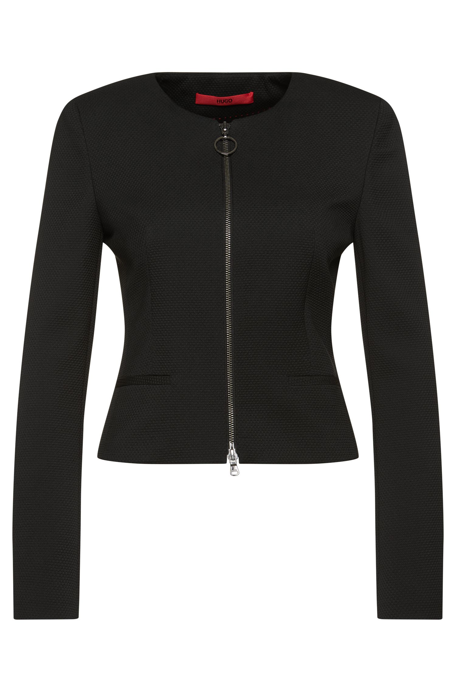 Textured short blazer with zip: 'Aleesia'