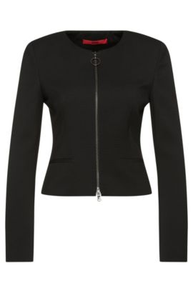 Textured short blazer with zip: 'Aleesia', Black
