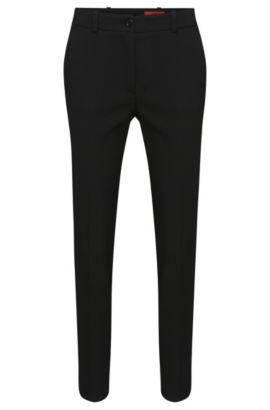 Gerade geschnittene Hose aus Material-Mix mit Struktur-Muster: 'Havine', Schwarz