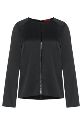 Long-sleeved top with glossy panel: 'Celies', Black