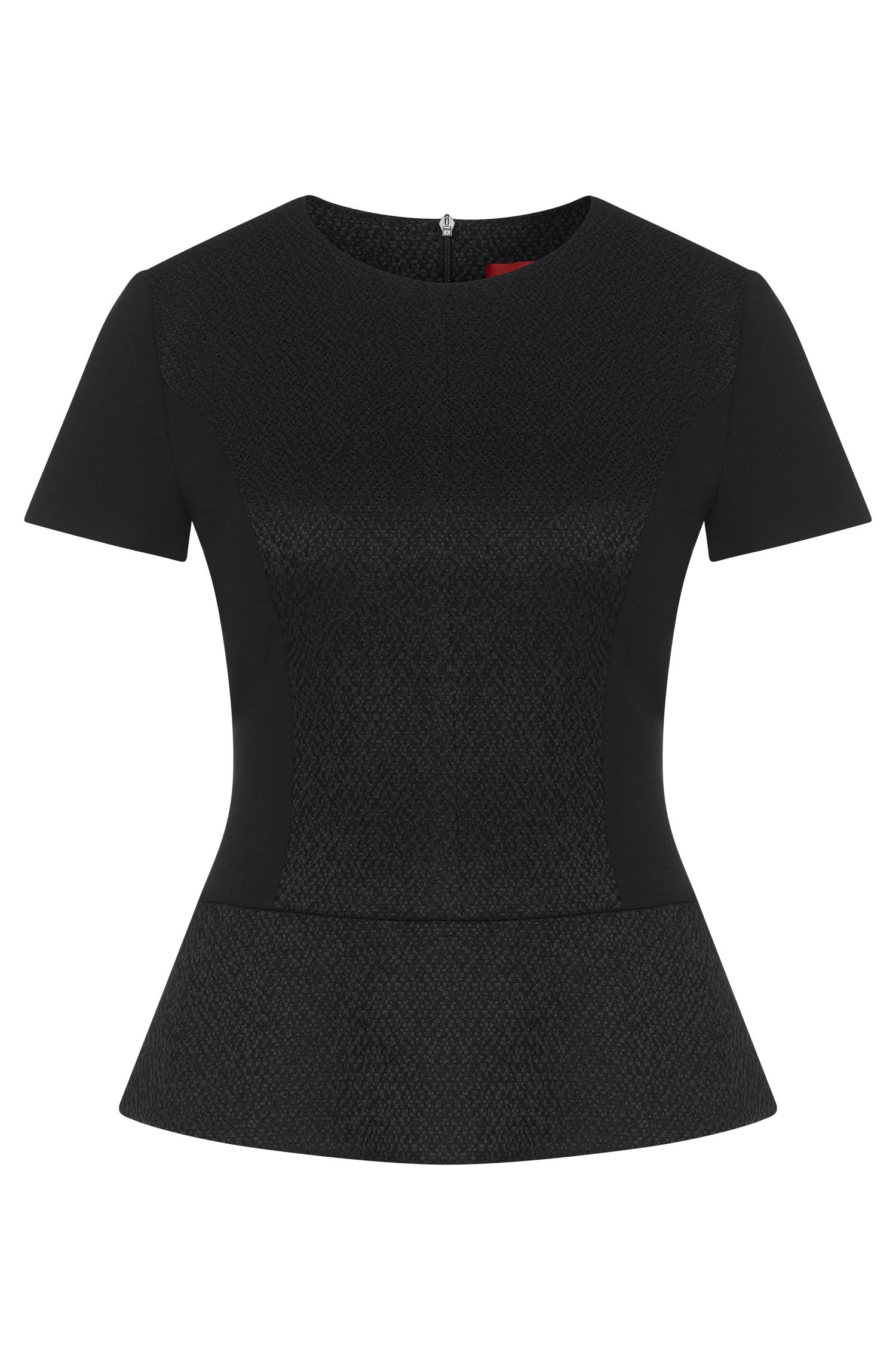 Short-sleeved top in viscose blend with peplum: 'Cirstena'
