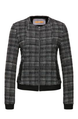 Short tweed tailored jacket in cotton blend: 'Otwidy', Patterned