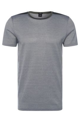 T-shirt a righe slim fit in cotone: 'Tessler 46', Verde scuro