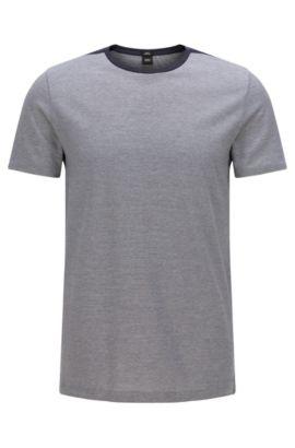 Striped slim-fit t-shirt in cotton: 'Tessler 46', Dark Blue