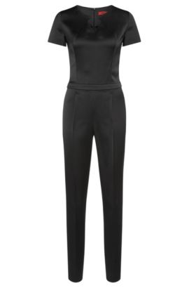 Jumpsuit in a material blend with waist pleats: 'Klary', Black