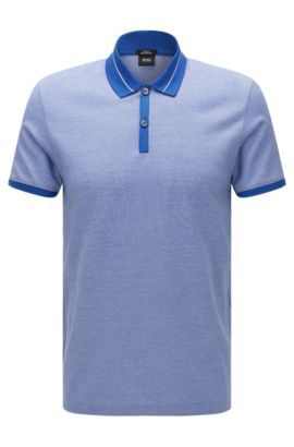 Striped slim-fit polo shirt in mercerised cotton: 'Penrose 10', Blue