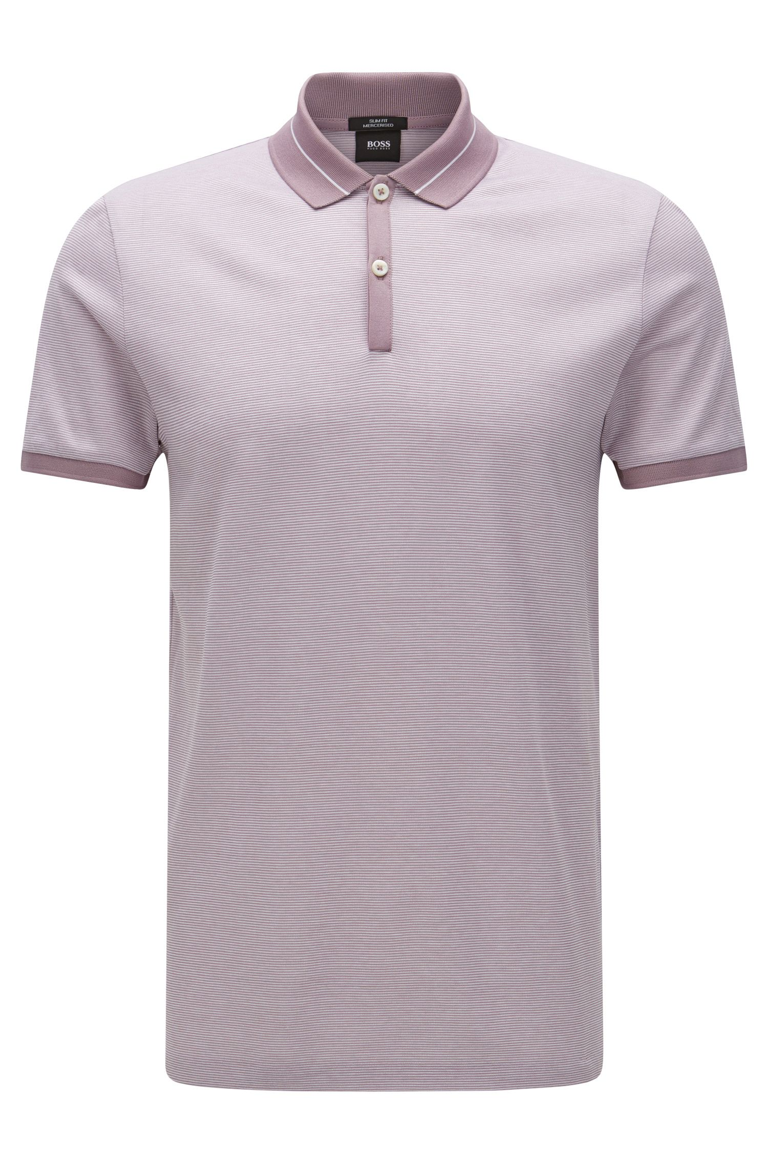 Striped slim-fit polo shirt in mercerised cotton: 'Penrose 10'