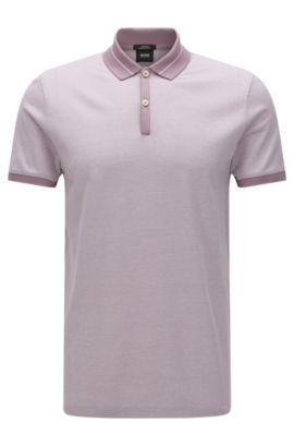 Gestreiftes Slim-Fit Poloshirt aus merzerisierter Baumwolle: 'Penrose 10', Flieder
