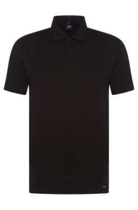 Regular-Fit Travel Line Poloshirt aus Baumwolle: 'Press 19', Schwarz