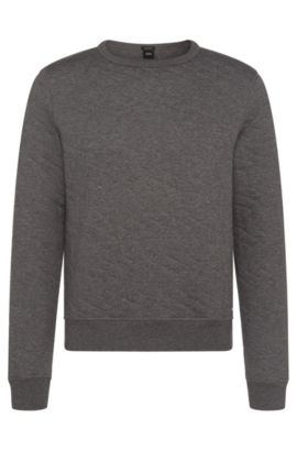 Mottled regular-fit sweatshirt in cotton blend: 'Stadler 03', Grey