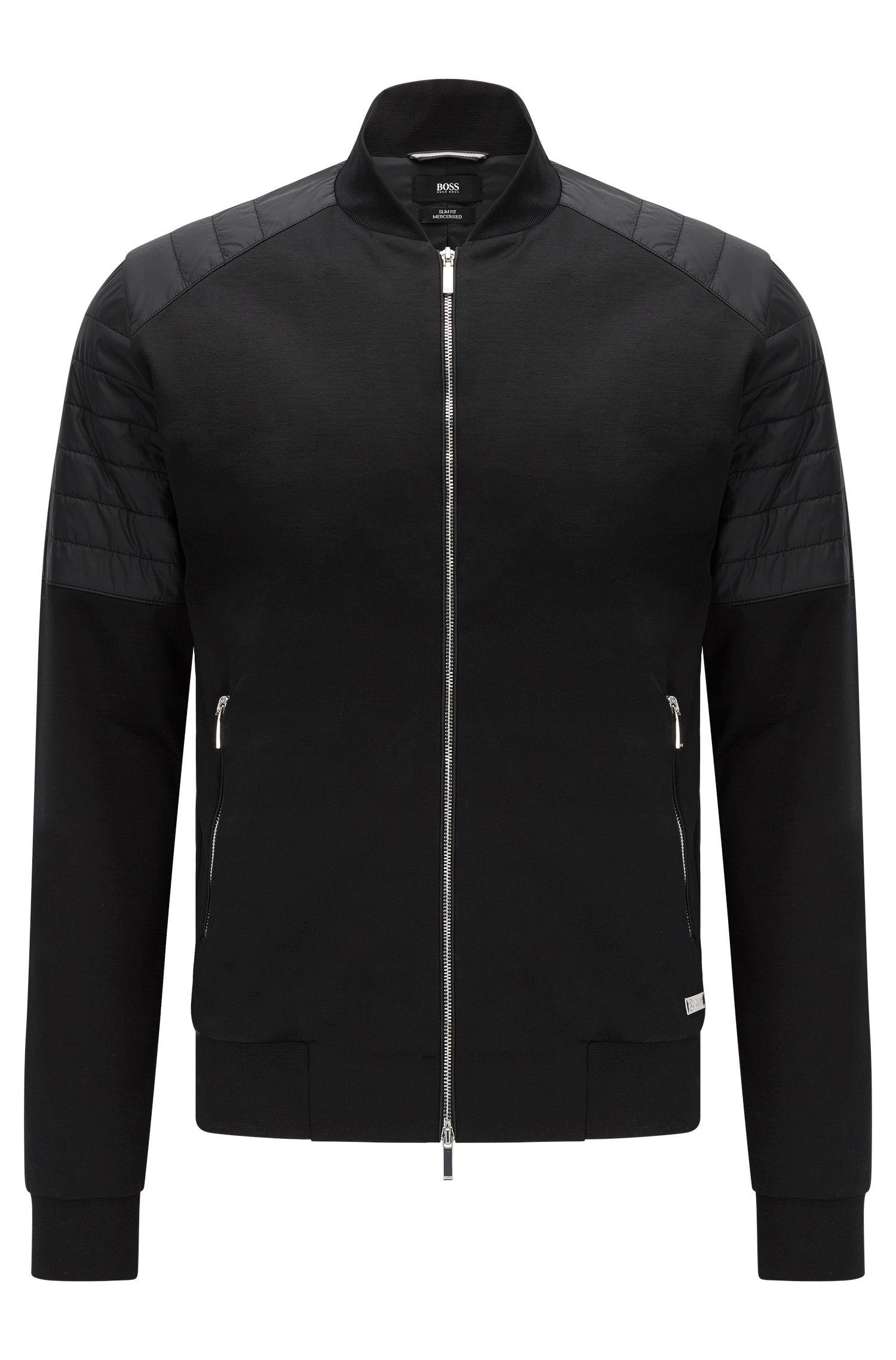 Slim-Fit Sweatshirt-Jacke aus merzerisierter Stretch-Baumwolle: 'Salea 07' aus der Mercedes-Benz-Kollektion