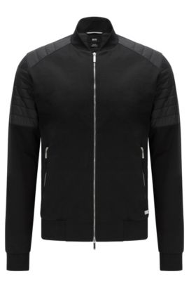 Slim-fit sweatshirt jacket in mercerised stretch cotton: 'Salea 07' from the Mercedes-Benz Collection, Black