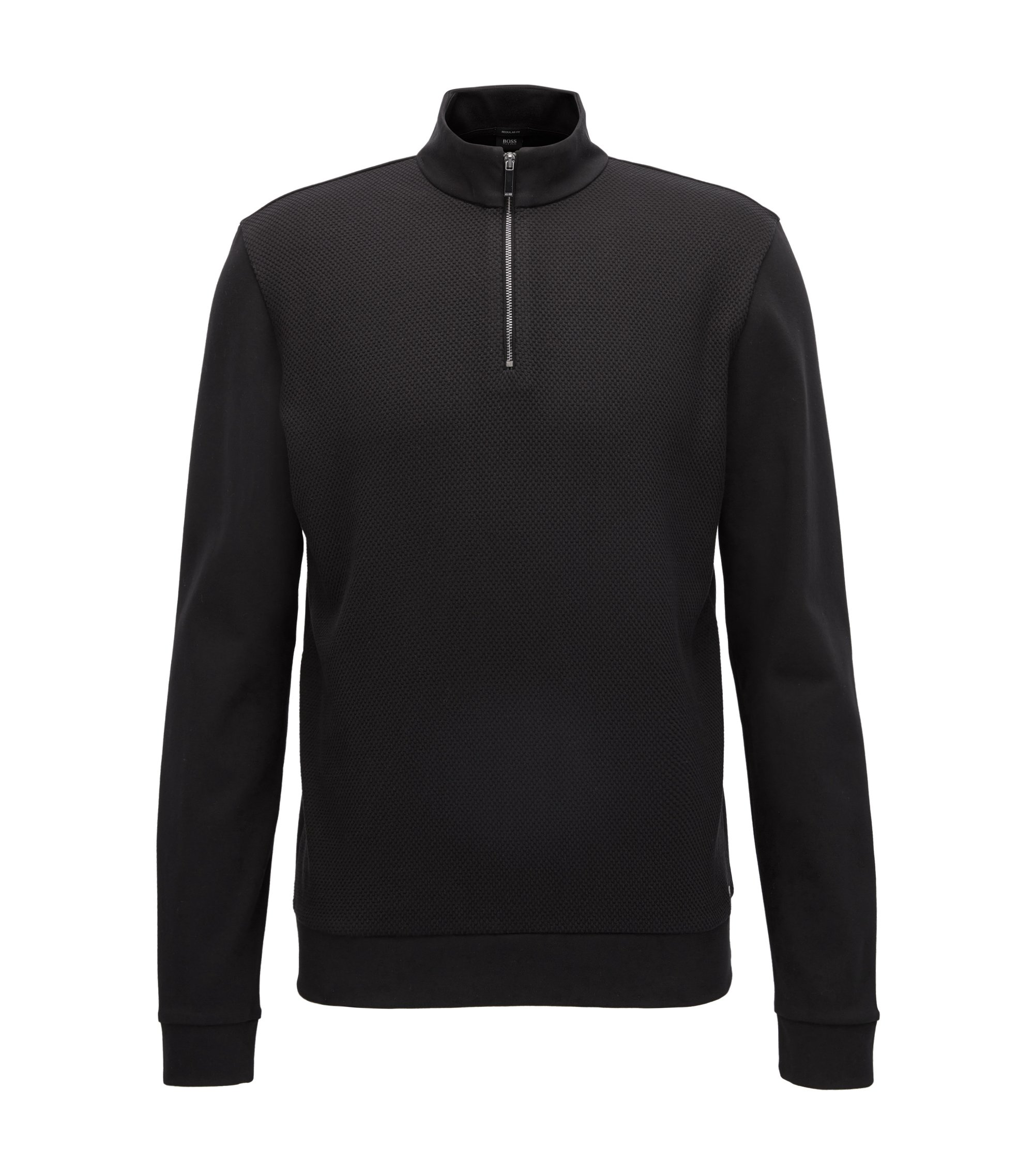 Zip-neck sweatshirt in mercerised cotton, Black