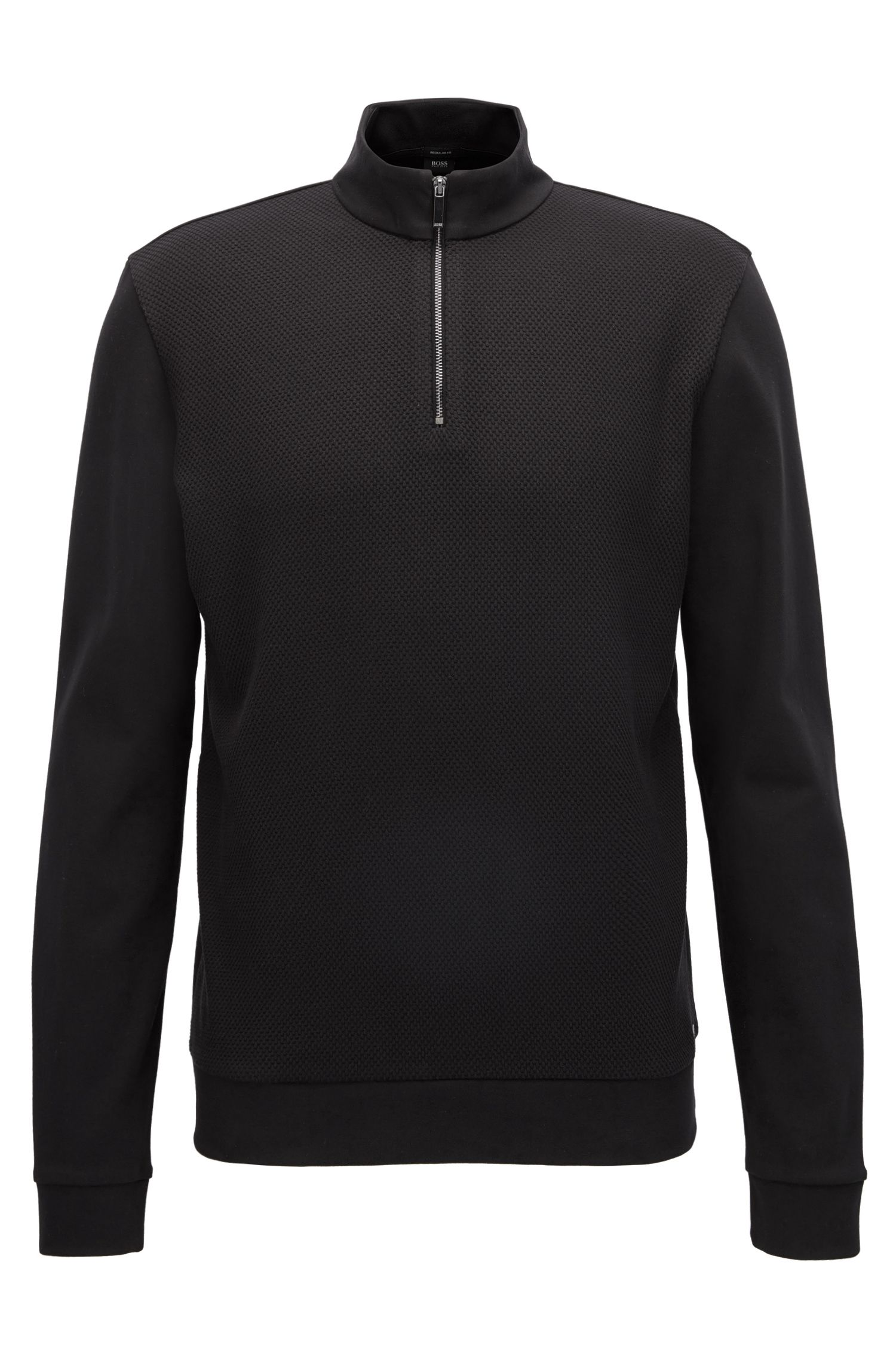 Sweat en coton mercerisé à encolure zippée