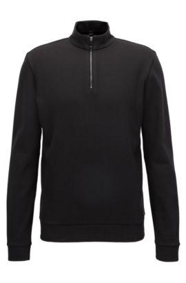 Pullover aus merzerisierter Baumwolle mit Troyer-Kragen, Schwarz