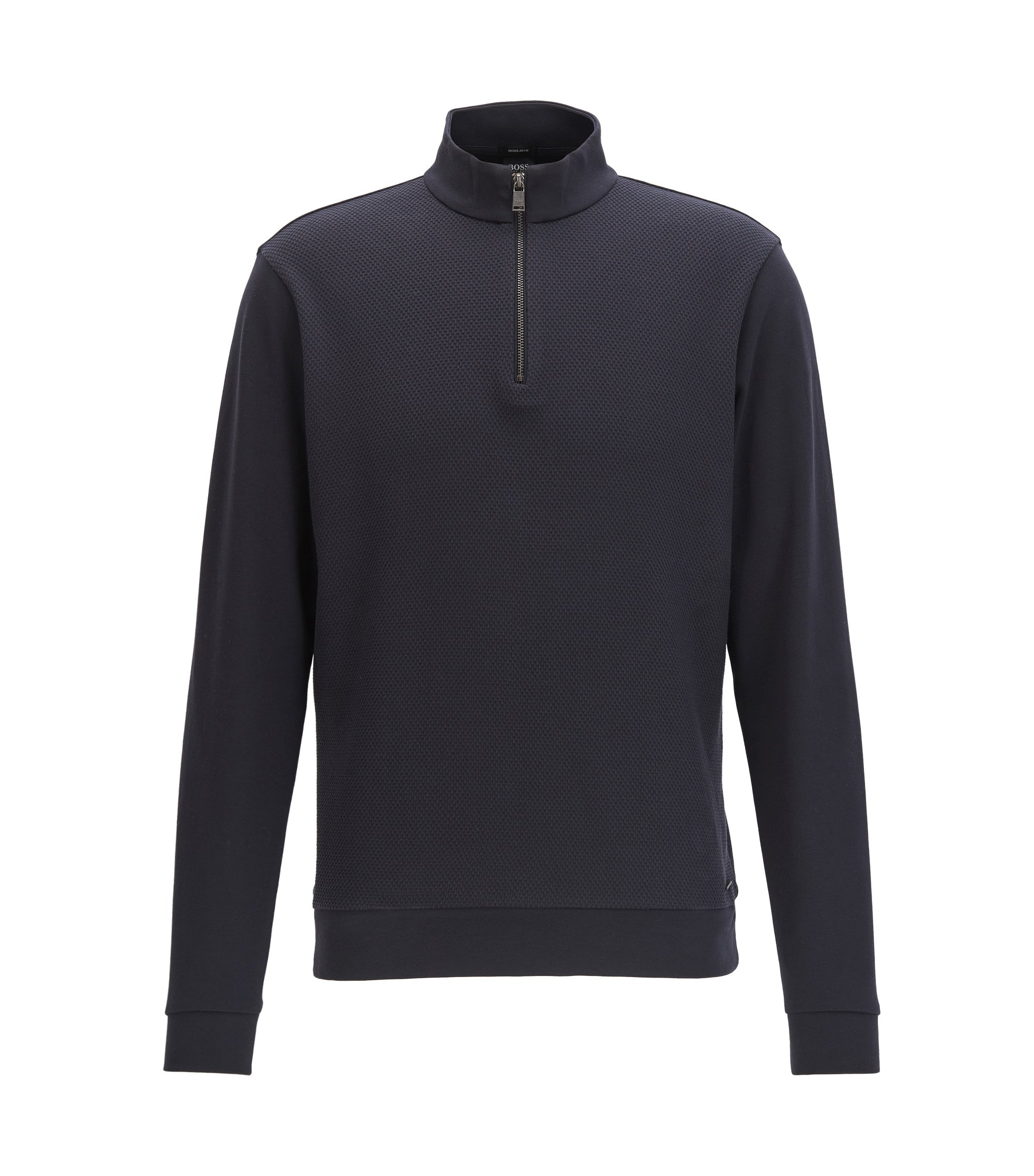 Zip-neck sweatshirt in mercerised cotton, Dark Blue