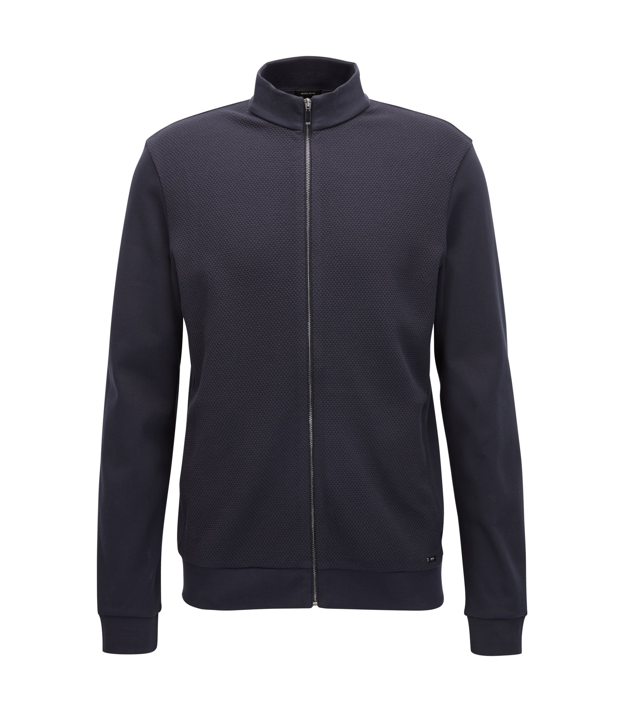 Regular-fit sweatshirt jacket in cotton with a textured front: 'Skiles 02', Dark Blue