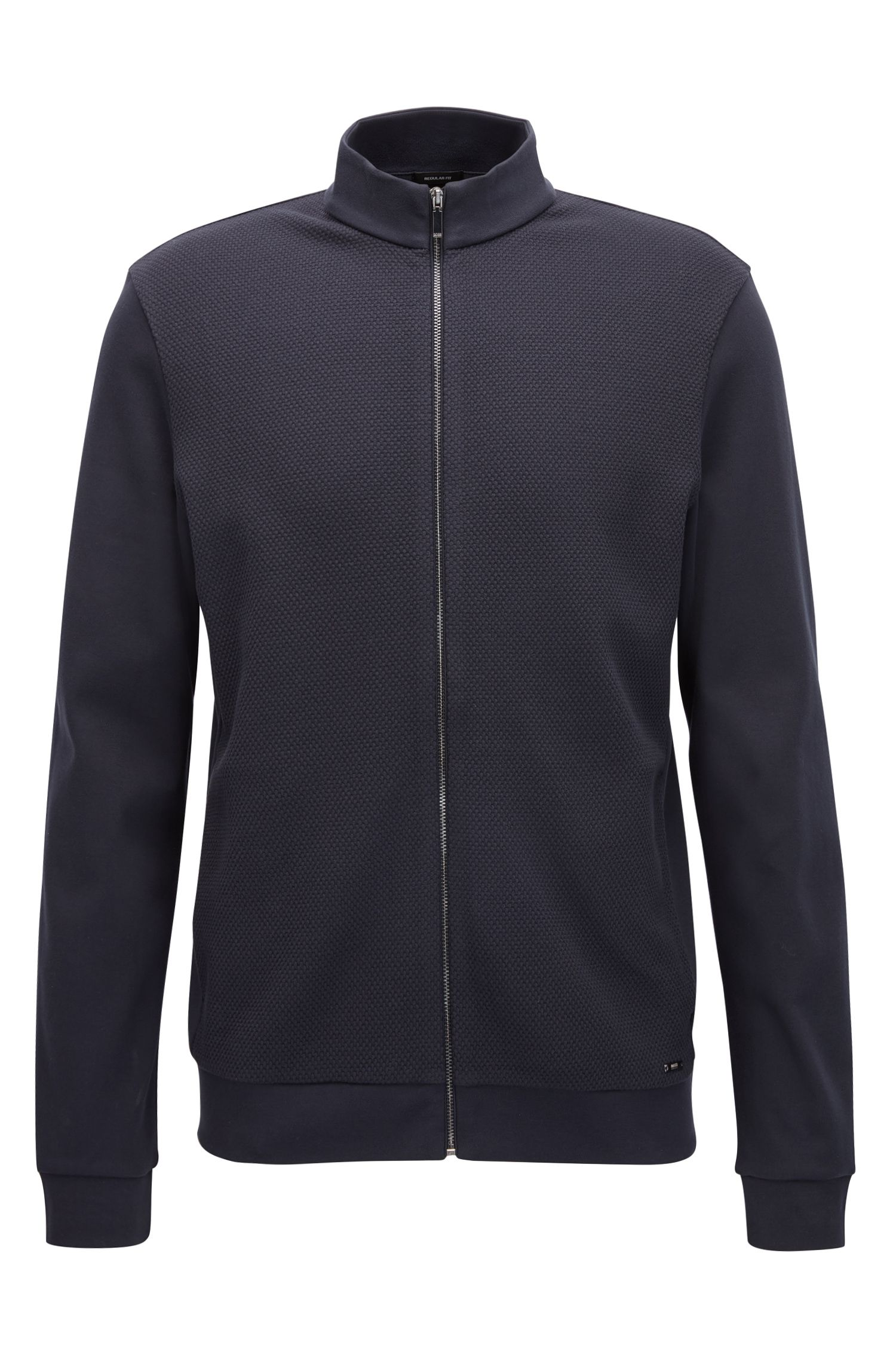 Regular-fit sweatshirt jacket in cotton with a textured front: 'Skiles 02'