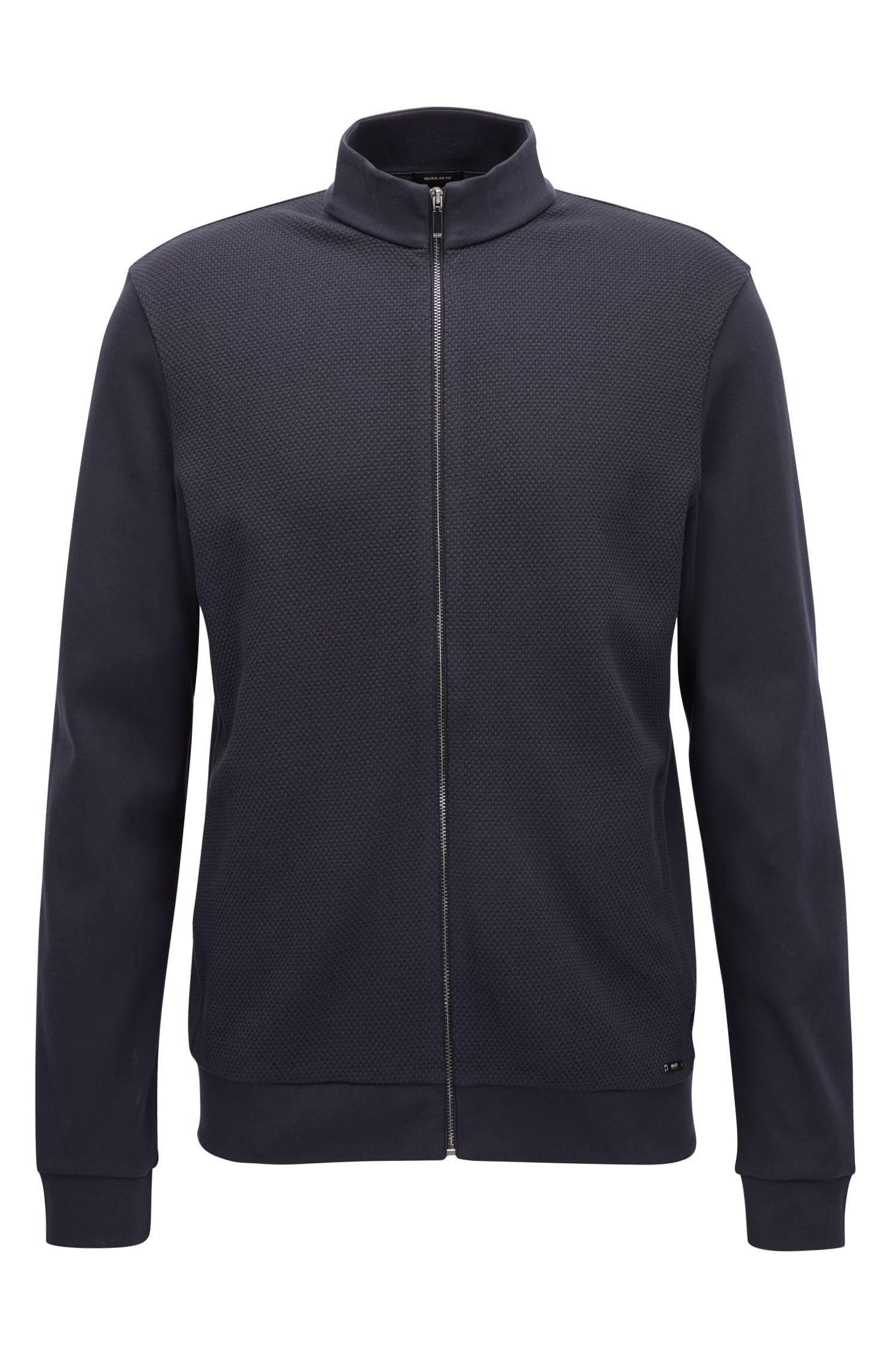 Zip-through sweatshirt in mercerised cotton terry