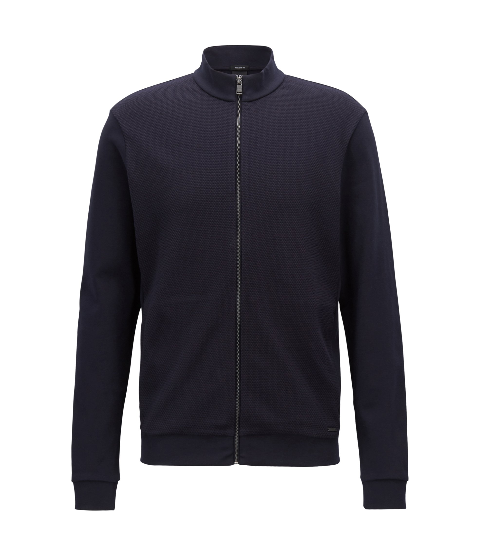 Zip-through sweatshirt in mercerised cotton terry, Dark Blue