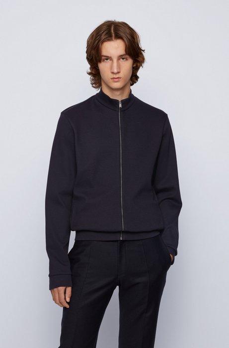 Regular-fit zip-through sweatshirt in mercerised cotton, Light Blue