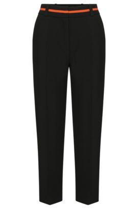 Trousers in culottes style with contrasting details at the waistband: 'Hulina', Black