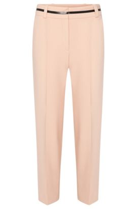 Trousers in culottes style with contrasting details at the waistband: 'Hulina', Open Pink