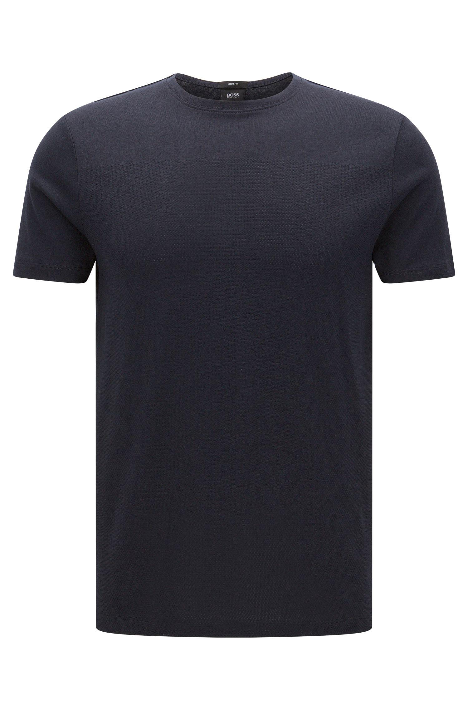 Slim-Fit T-Shirt aus Baumwolle mit Mesh-Struktur: 'Tessler 41'