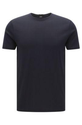 T-shirt Slim Fit en coton à la texture mesh: «Tessler 41», Bleu foncé
