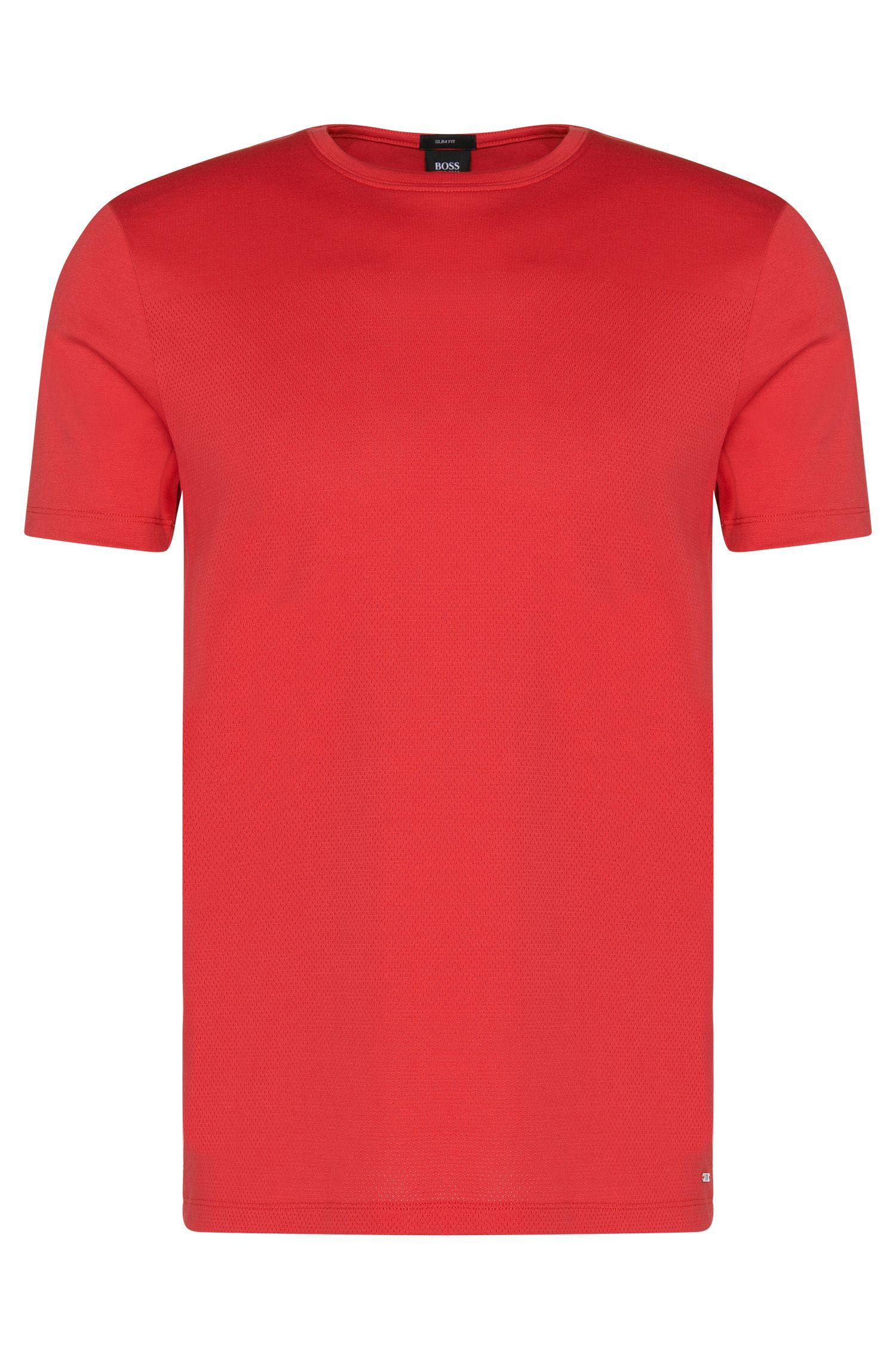 T-shirt Slim Fit en coton à la texture mesh: «Tessler 41»