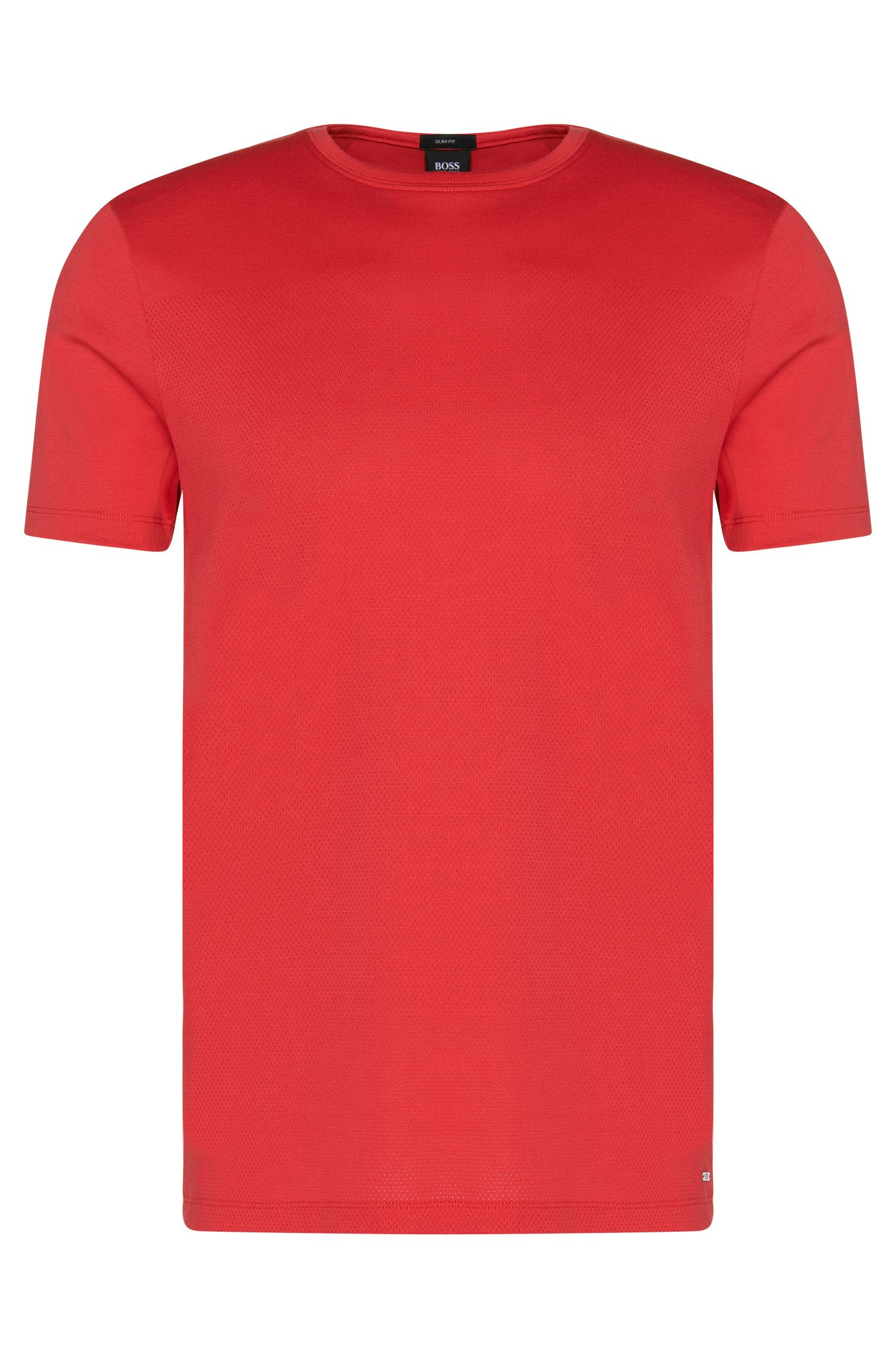 Slim-fit t-shirt in cotton with a mesh texture: 'Tessler 41'