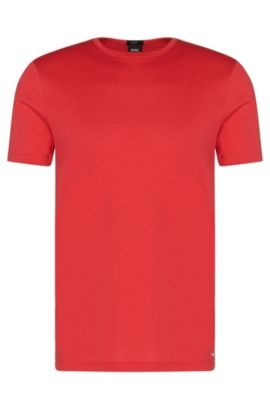 Slim-fit t-shirt in cotton with a mesh texture: 'Tessler 41', Red