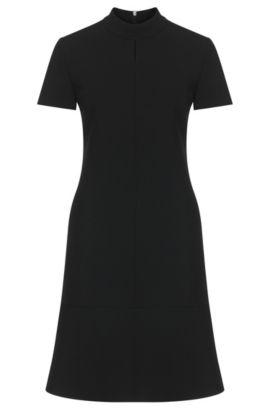 Plain dress with short band collar: 'Kilona', Black